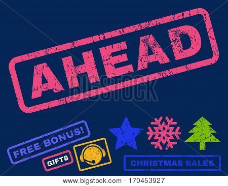 Ahead text rubber seal stamp watermark with bonus christmas symbols. Caption inside rectangular shape with grunge design and unclean texture.