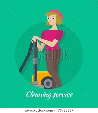 Cleaning service concept vector. Flat style design. Smiling woman character standing with vacuum cleaner. Small private business. Illustration for housekeeping companies and services advertising