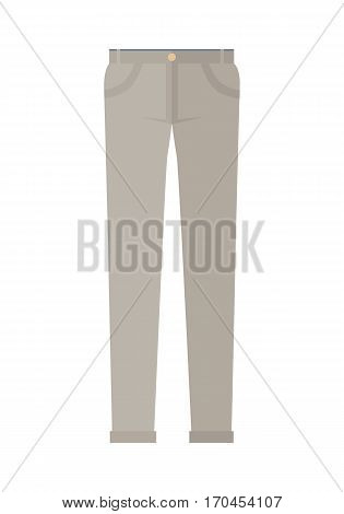 Trousers isolated on white background. Unisex man woman trousers. Brown jeans in flat style design Modern pants vector illustration. Fashionable cotton elegant trousers. Casual male female jeans icon