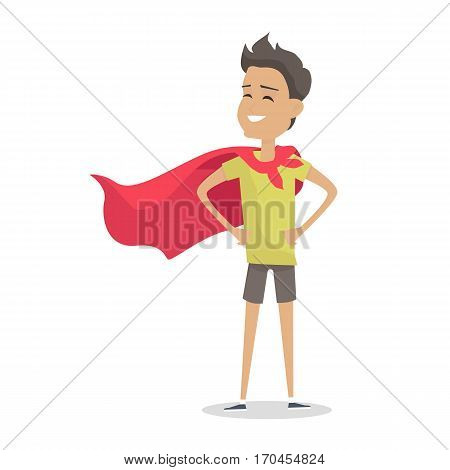 Young boy in superman pose wearing a red cloak. Boy with green T-shirt and gray shorts and red cloak. Smiling boy personage in flat design isolated on white background. Vector illustration.