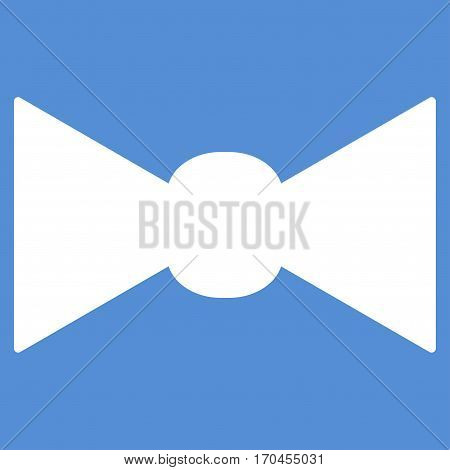 Bow Tie vector icon symbol. Flat pictogram designed with white and isolated on a blue background.