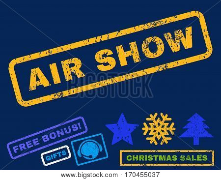 Air Show text rubber seal stamp watermark with additional bonus new year symbols. Caption inside rectangular shape with grunge design and dirty texture.