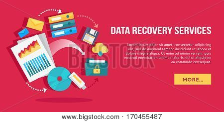 Data recovery services. Set of concept flat icons data storage, cloud computing, data provision services. Numerous colored web icons, business stuff, computer parts, infographic elements. Vector