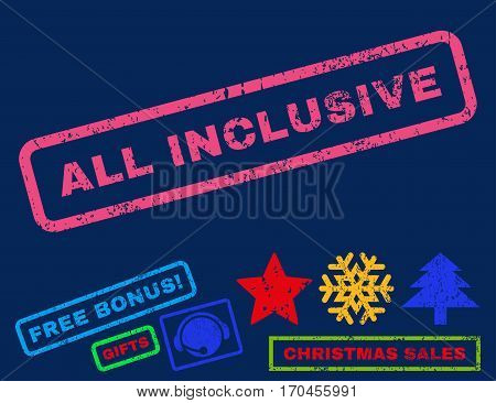 All Inclusive text rubber seal stamp watermark with bonus new year symbols. Caption inside rectangular shape with grunge design and dust texture.