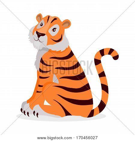 Tiger Panthera tigris cartoon isolated on white. Largest cat tiger species, most recognisable for pattern of dark vertical stripes reddish-orange fur with lighter underside. Sticker tiger for children