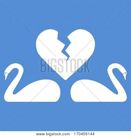 Divorce Swans vector icon symbol. Flat pictogram designed with white and isolated on a blue background.