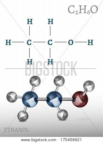 Ethanol molecule in volumetric style. C2H6O vector illustration isolated on a white background. Scientific, educational and popular-scientific concept.