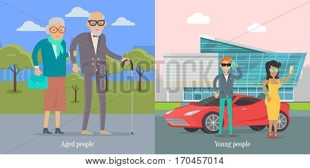 Aged people walking in park. Young people standing near luxury coupe car. Happy senior man and woman together. Middle aged couple. Successful young businessman couple. Vector illustration