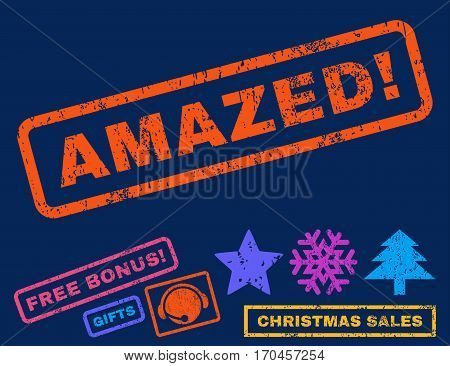 Amazed text rubber seal stamp watermark with additional bonus new year symbols. Caption inside rectangular shape with grunge design and scratched texture.