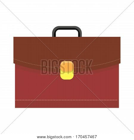 Leather briefcase vector illustration in flat style. Business equipment and attribute. Classic brown leather bag with lock. Travel concepts, bags stores ad, icons logo, web design. Isolated on white