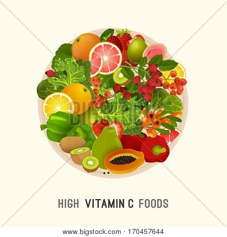 High vitamin C foods. The plate with healthy fruits, berries and vecetables. Vector illustration in bright colours.