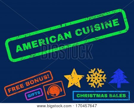 American Cuisine text rubber seal stamp watermark with additional bonus christmas symbols. Tag inside rectangular banner with grunge design and unclean texture.