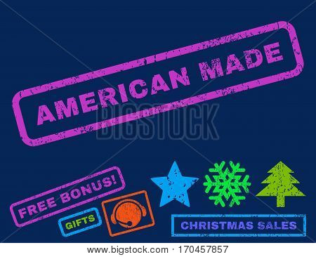 American Made text rubber seal stamp watermark with additional bonus new year symbols. Caption inside rectangular banner with grunge design and scratched texture.
