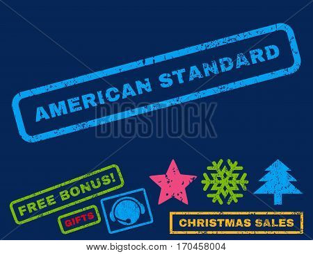 American Standard text rubber seal stamp watermark with additional bonus new year symbols. Tag inside rectangular banner with grunge design and unclean texture.