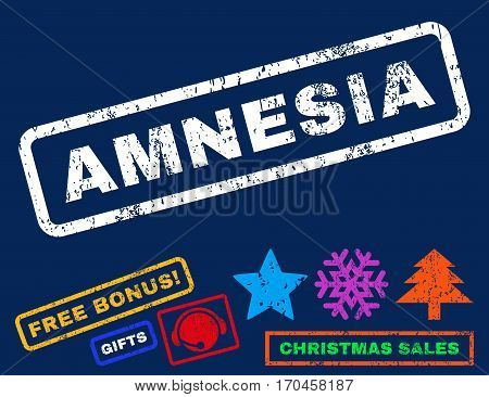 Amnesia text rubber seal stamp watermark with bonus new year symbols. Caption inside rectangular banner with grunge design and unclean texture.