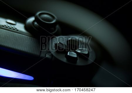 VALENCIA, SPAIN - FEBRUARY 3: Close up macro view from Dualshock 4 wireless controller for playstation 4 on February 3, 2017 in Valencia, Spain