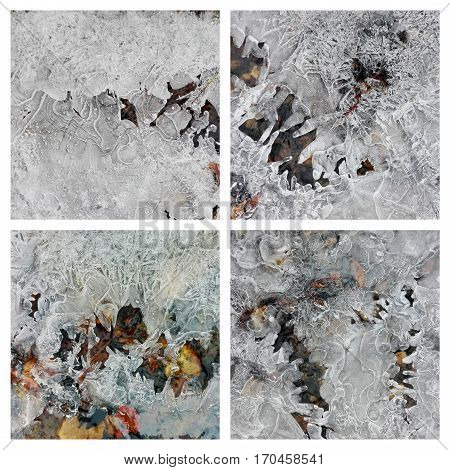 collage of four shots of ice texture