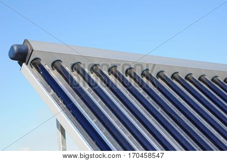 Solar water heating (SWH) systems use solar panels called collectors fitted to your roof. Solar thermal collector with dust need to clean. Energy efficiency concept. Solar Hot water panels heating.