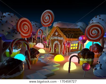 candy land landscape at night with gingerbread house in sweet forest and magic light . 3d illustration.