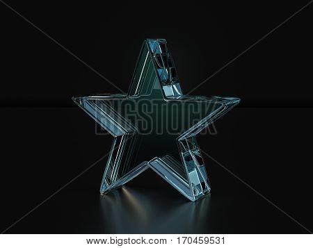 Glass Star Symbol  3D Illustration