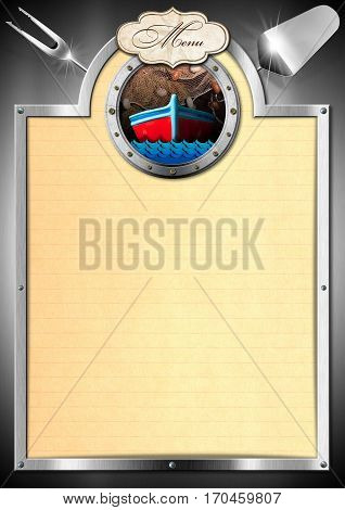 Illustration of a template for a seafood menu with a porthole boat fishing net waves label with text Menu and two kitchen utensils