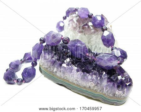 amethyst semigem geode crystals and beads geological mineral isolated