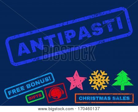 Antipasti text rubber seal stamp watermark with additional bonus new year symbols. Tag inside rectangular shape with grunge design and dirty texture.