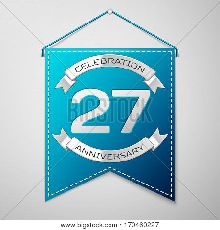 Blue pennant with inscription Twenty seven Years Anniversary Celebration Design over a grey background. Silver ribbon. Colorful template elements for your birthday party. Vector illustration