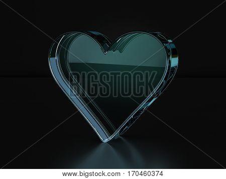 Glass Heart Symbol  3D Illustration