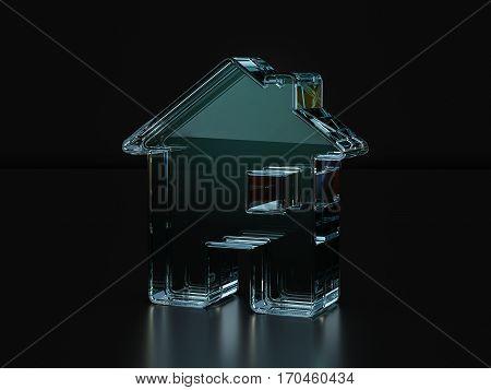 Glass House Symbol  3D Illustration
