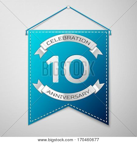 Blue pennant with inscription Ten Years Anniversary Celebration Design over a grey background. Silver ribbon. Colorful template elements for your birthday party. Vector illustration