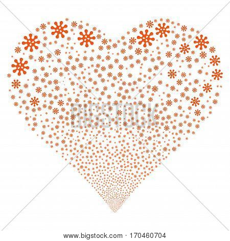 Virus fireworks with heart shape. Vector illustration style is flat orange iconic symbols on a white background. Object love heart constructed from scattered pictograms.