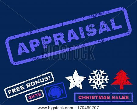Appraisal text rubber seal stamp watermark with bonus christmas symbols. Tag inside rectangular shape with grunge design and unclean texture.