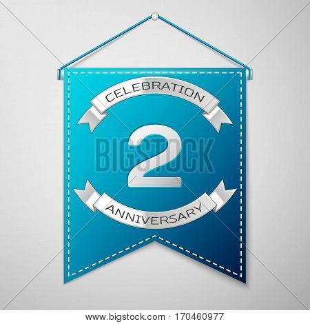 Blue pennant with inscription Two Years Anniversary Celebration Design over a grey background. Silver ribbon. Colorful template elements for your birthday party. Vector illustration