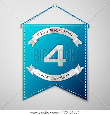 Blue pennant with inscription Four Years Anniversary Celebration Design over a grey background. Silver ribbon. Colorful template elements for your birthday party. Vector illustration