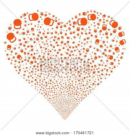 Weight fireworks with heart shape. Vector illustration style is flat orange iconic symbols on a white background. Object valentine heart made from scattered pictograms.