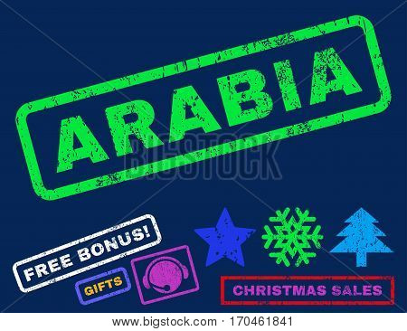 Arabia text rubber seal stamp watermark with additional bonus new year symbols. Tag inside rectangular shape with grunge design and unclean texture.