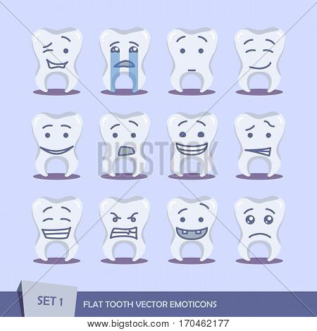 Set of flat tooth outline emoticons. Isolated vector illustration on white background. Dent emoji