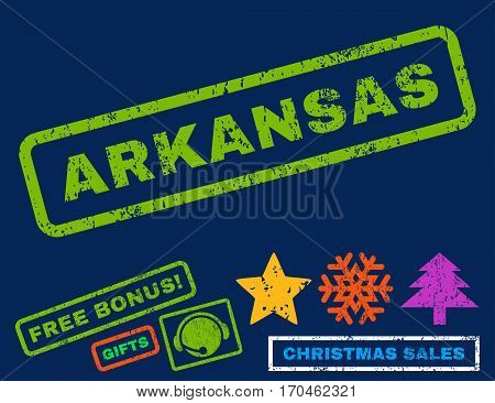 Arkansas text rubber seal stamp watermark with additional bonus christmas symbols. Tag inside rectangular shape with grunge design and dust texture.