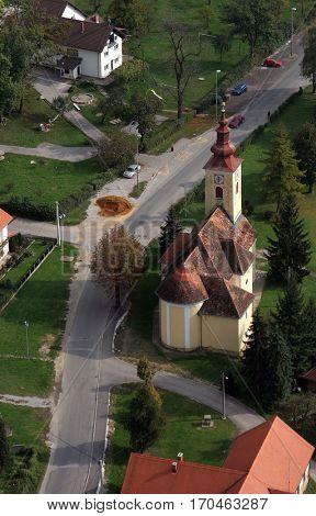 VUGROVEC, CROATIA - OCTOBER 09: Parish Church of Saint Francis Xavier in Vugrovec, Croatia on October 09, 2007
