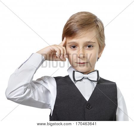 Emotional portrait of a pensive teen boy. isolated on white background