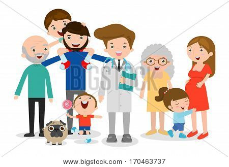Family doctor vector illustration, big family with doctor. Doctor standing together with father, mother, children and grandparents on white background. flat style