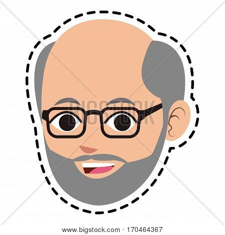 face of middle age man icon image vector illustration design