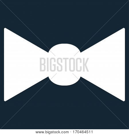 Bow Tie vector icon symbol. Flat pictogram designed with white and isolated on a dark blue background.