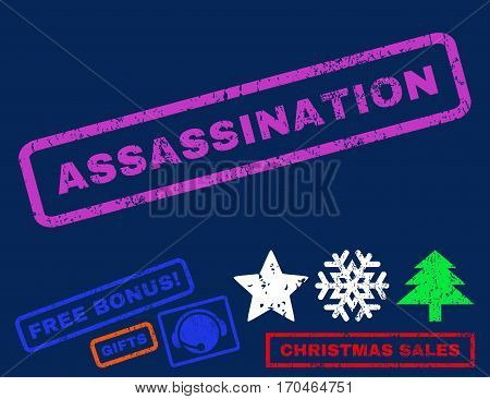Assassination text rubber seal stamp watermark with additional bonus christmas symbols. Tag inside rectangular shape with grunge design and unclean texture.