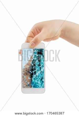 hand holding the smartphone with cracked screen on white background