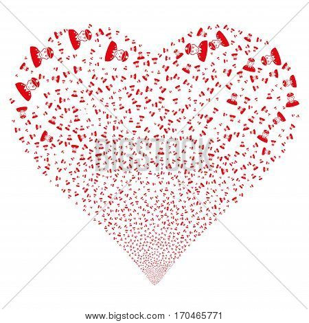Army General fireworks with heart shape. Vector illustration style is flat red iconic symbols on a white background. Object heart combined from confetti icons.