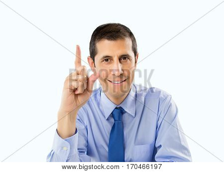 closeup of businessman with gesture hand like symbol the idea creative isolated on white background