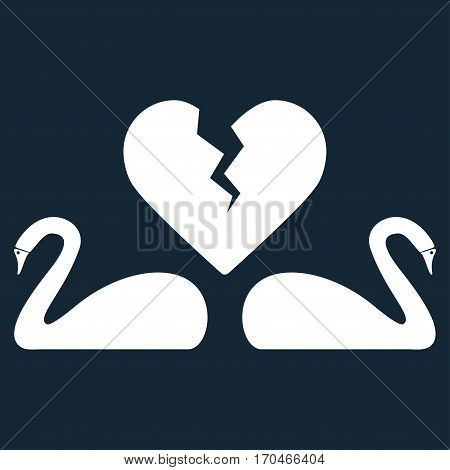 Divorce Swans vector icon symbol. Flat pictogram designed with white and isolated on a dark blue background.