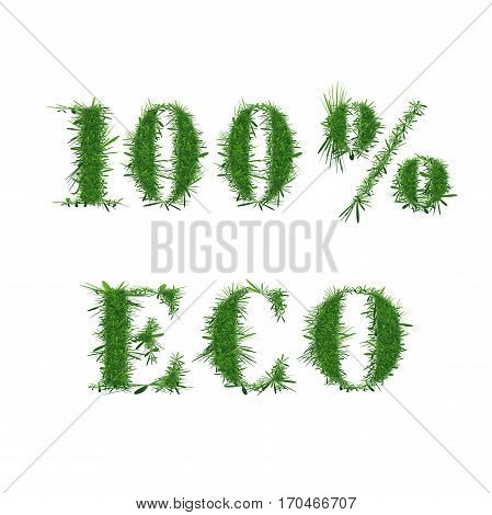 Ecology nature design. The text. 100 ECO is made of grass. Environmental concepts for healthy lifestyle, natural foods. Suitable for ads, banners, cards. Vector illustration. Square location.